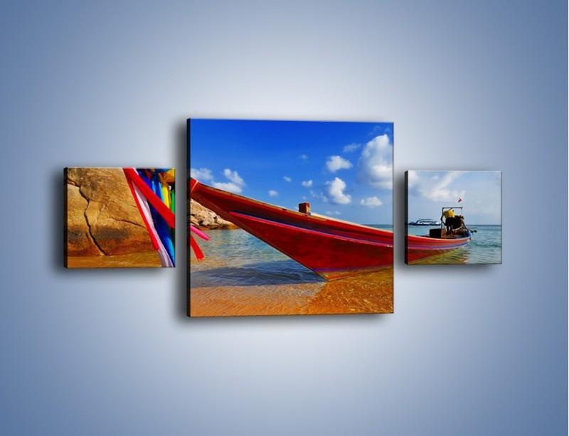 Obraz na płótnie – Kolorowa łódź na brzegu – trzyczęściowy KN415W4