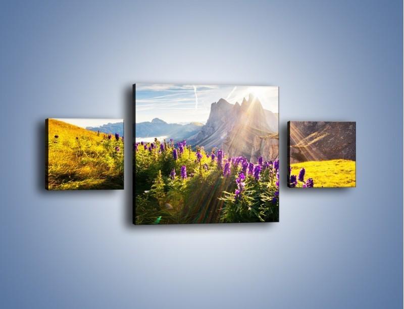 Obraz na płótnie – Góry w poświacie słońca – trzyczęściowy KN502W4