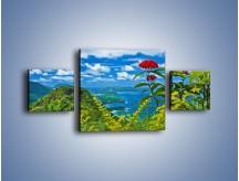 Obraz na płótnie – Bordowe kwiaty w górskim krajobrazie – trzyczęściowy KN561W4