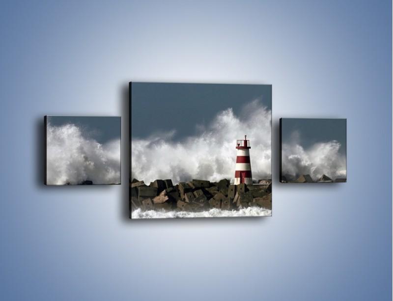 Obraz na płótnie – Latarnia morska w sztormie – trzyczęściowy KN626W4