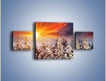 Obraz na płótnie – Choinki w środku zimy – trzyczęściowy KN682W4