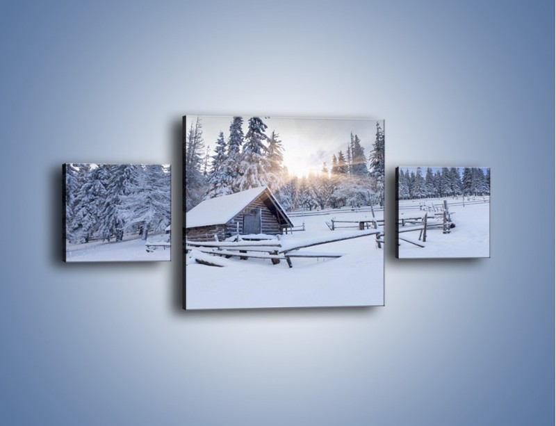 Obraz na płótnie – Chatka zatopiona w śniegu – trzyczęściowy KN696W4