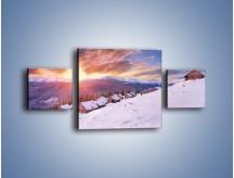 Obraz na płótnie – Chatka w śnieżnym dywanie – trzyczęściowy KN725W4