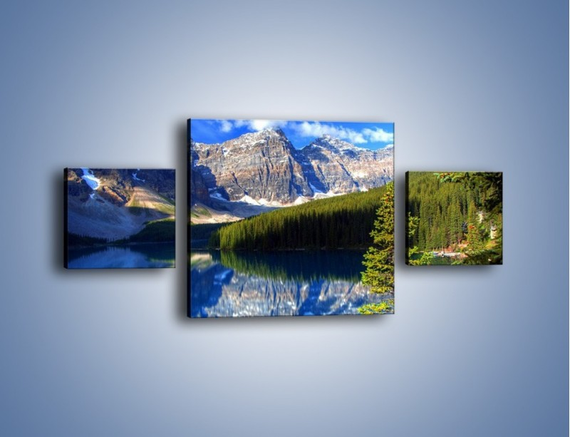 Obraz na płótnie – Góry i ich wodne odbicie – trzyczęściowy KN839W4