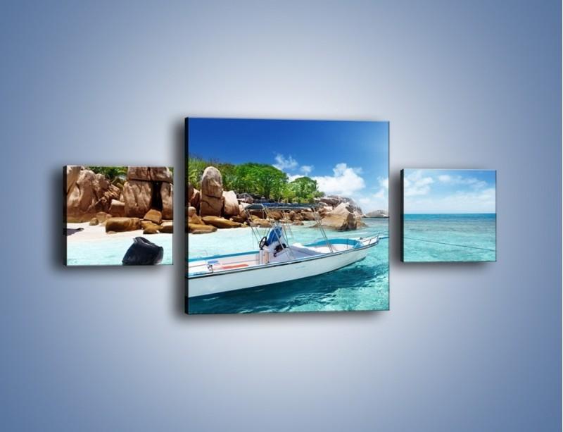 Obraz na płótnie – Błękit w wodzie i niebie – trzyczęściowy KN852W4