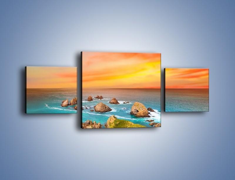 Obraz na płótnie – Kolory rozpalonego nieba nad wodą – trzyczęściowy KN879W4