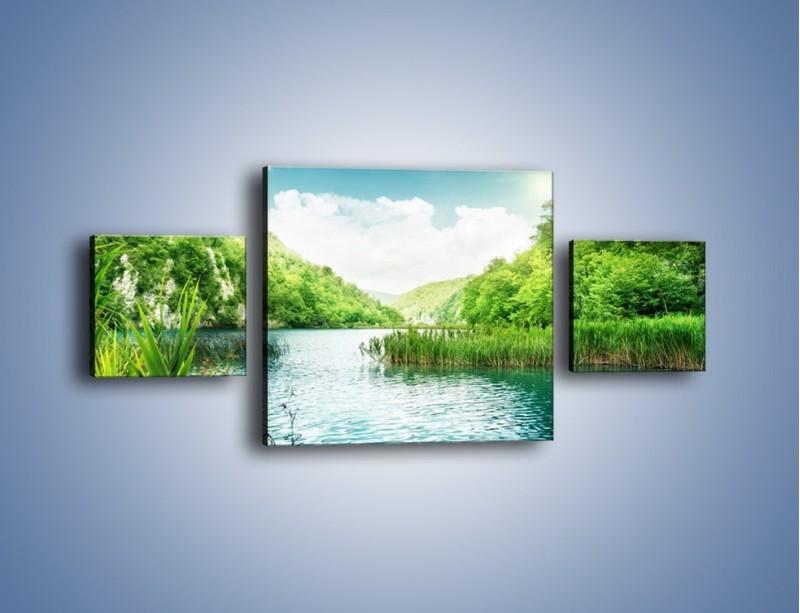 Obraz na płótnie – Wodnym śladem wśród zieleni – trzyczęściowy KN884W4