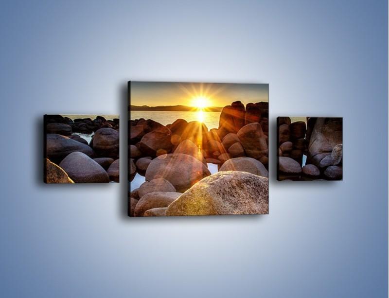 Obraz na płótnie – Kamienna wyspa w słońcu – trzyczęściowy KN888W4