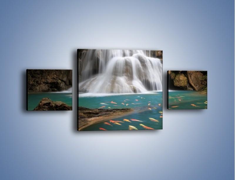 Obraz na płótnie – Wodospad i kolorowe rybki – trzyczęściowy KN994W4