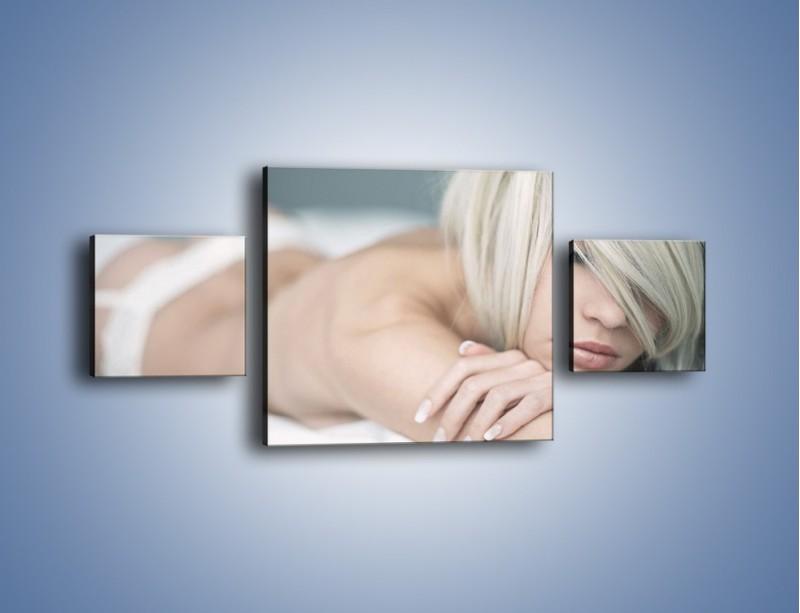 Obraz na płótnie – Biel idealna do łóżka – trzyczęściowy L024W4