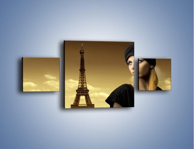 Obraz na płótnie – Czarna dama w paryżu – trzyczęściowy L114W4