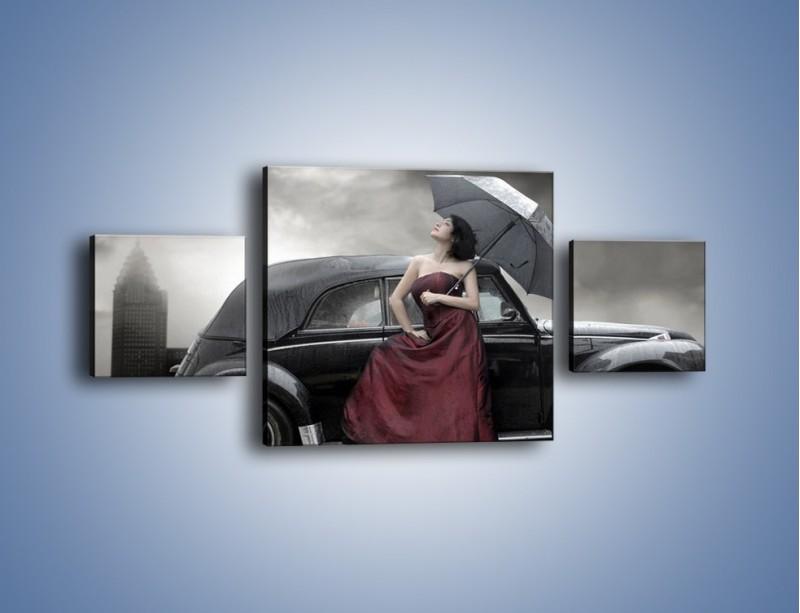 Obraz na płótnie – Dama pod parasolem – trzyczęściowy L139W4