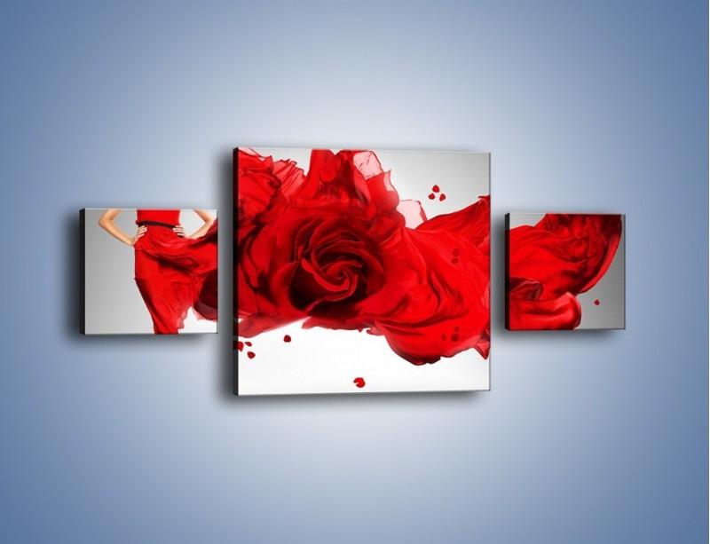 Obraz na płótnie – Czerwona róża i kobieta – trzyczęściowy L144W4