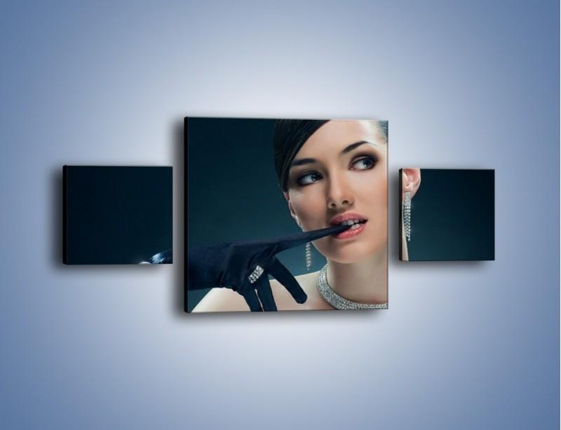 Obraz na płótnie – Czarna dama w diamentach – trzyczęściowy L171W4
