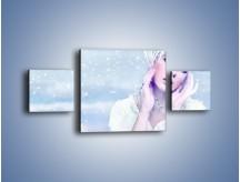 Obraz na płótnie – Delikatna królowa śniegu – trzyczęściowy L224W4