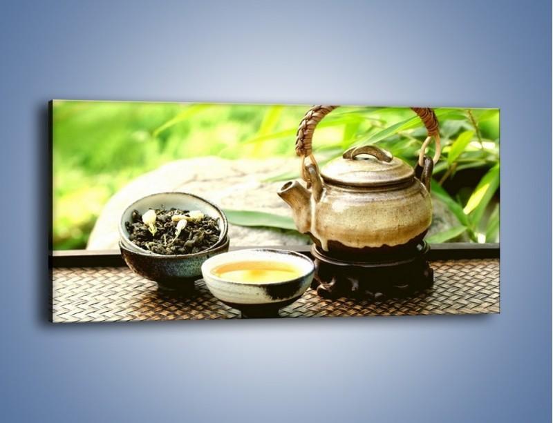 Obraz na płótnie – Herbata na świeżym powietrzu – jednoczęściowy panoramiczny JN249