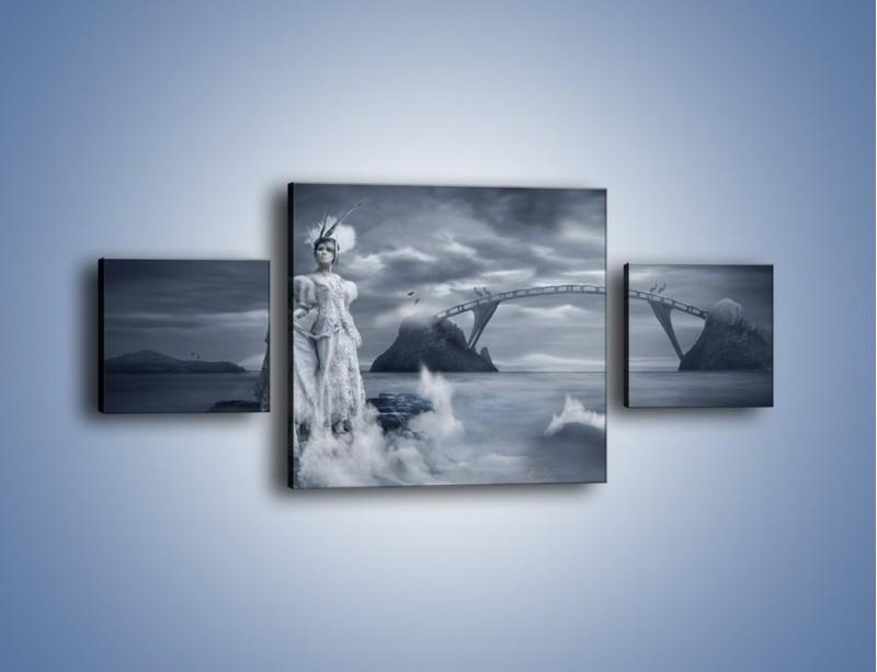 Obraz na płótnie – Dama w sepii – trzyczęściowy L292W4