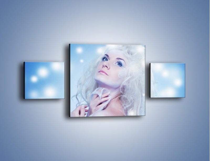 Obraz na płótnie – Biała dama i światełka – trzyczęściowy L318W4