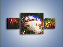 Obraz na płótnie – Bombka ręcznie malowana – trzyczęściowy O168W4