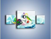 Obraz na płótnie – Kolorowa maska na błękicie – trzyczęściowy O180W4
