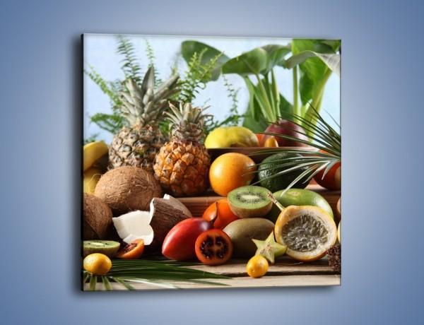 Obraz na płótnie – Mix owocowy na drewnianym stole – jednoczęściowy kwadratowy JN009