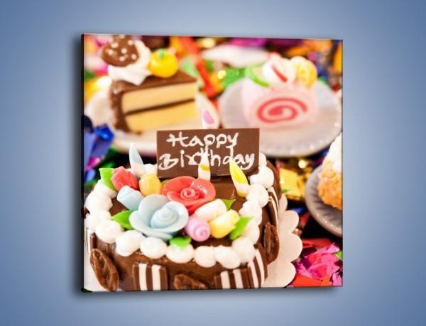 Obraz na płótnie – Urodzinowe mini torciki – jednoczęściowy kwadratowy JN013