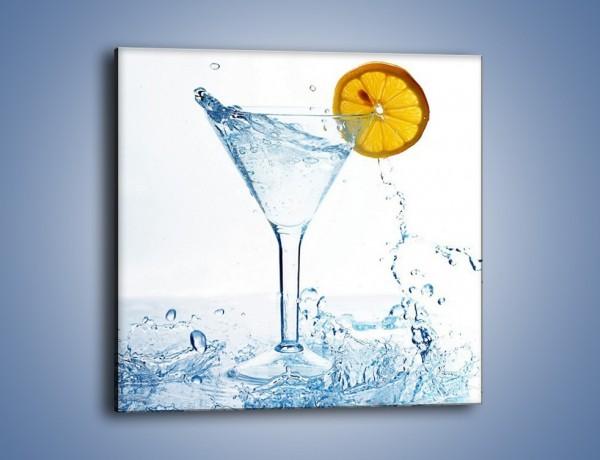 Obraz na płótnie – Orzeźwiająca woda z plastrem cytryny – jednoczęściowy kwadratowy JN015