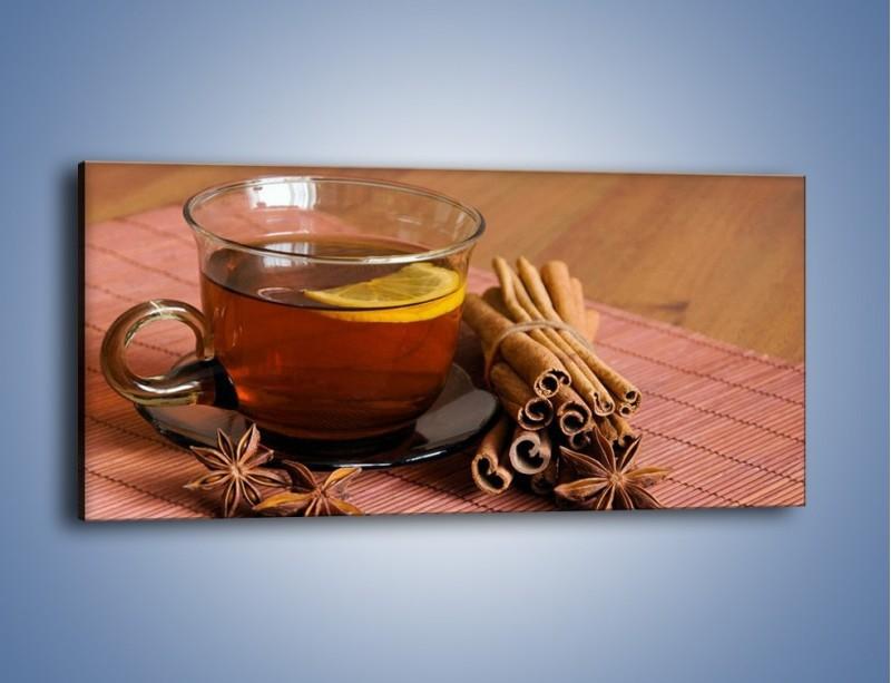 Obraz na płótnie – Rozgrzewająca filiżanka herbaty – jednoczęściowy panoramiczny JN266
