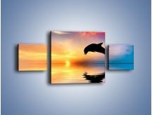 Obraz na płótnie – Delfin i jego odbicie – trzyczęściowy Z268W4