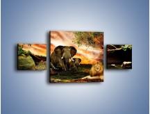 Obraz na płótnie – Afrykańscy przyjaciele przy wodopoju – trzyczęściowy Z271W4