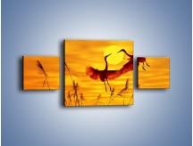 Obraz na płótnie – Czaple i zachód słońca – trzyczęściowy Z302W4