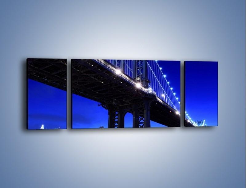 Obraz na płótnie – Oświetlony most wieczorem – trzyczęściowy AM003W5