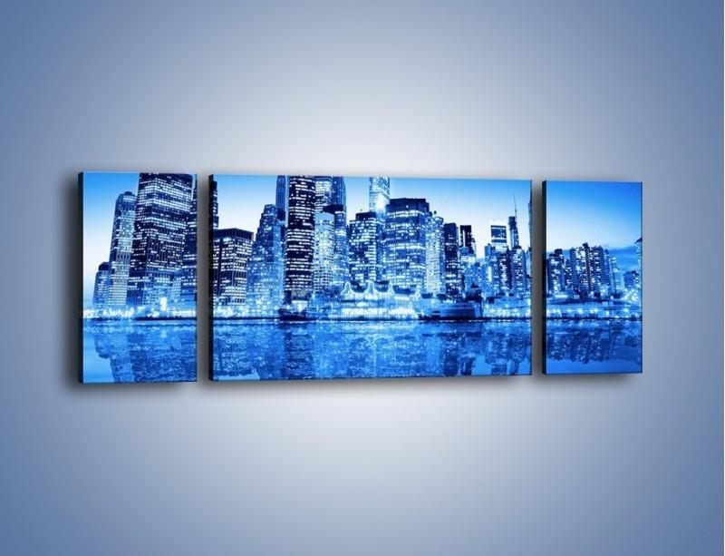 Obraz na płótnie – Odbicie miasta w tafli wody – trzyczęściowy AM004W5