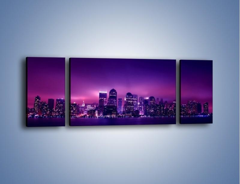 Obraz na płótnie – Wieżowce w odcieniach fioletu – trzyczęściowy AM008W5