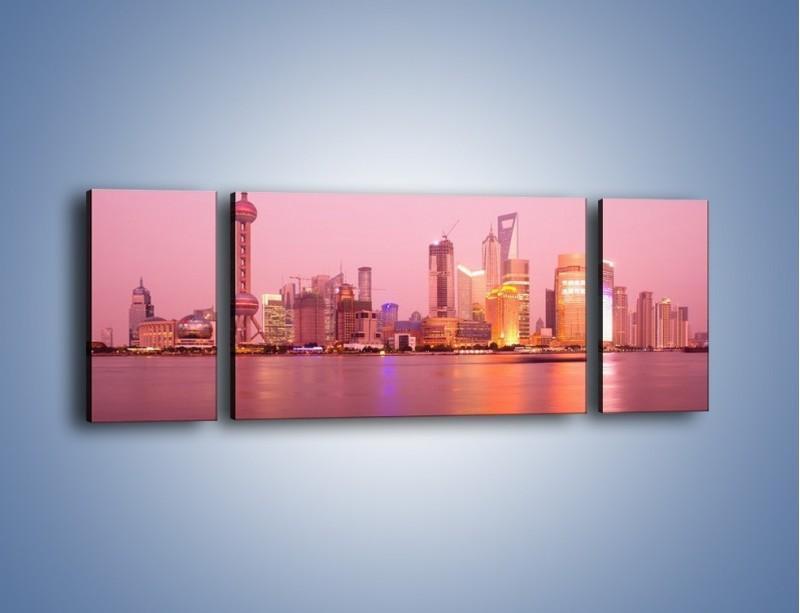 Obraz na płótnie – Miasto o poranku w odcieniach różu – trzyczęściowy AM020W5