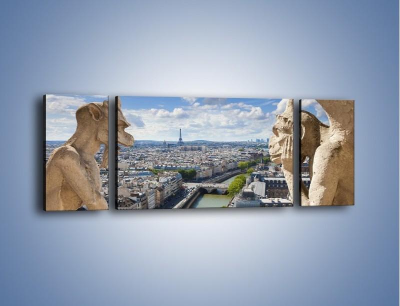 Obraz na płótnie – Kamienne gargulce nad Paryżem – trzyczęściowy AM037W5