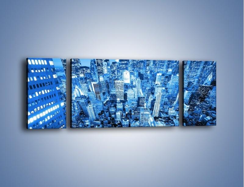 Obraz na płótnie – Centrum miasta w niebieskich kolorach – trzyczęściowy AM042W5