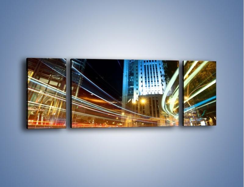 Obraz na płótnie – Światła w ruchu ulicznym – trzyczęściowy AM048W5