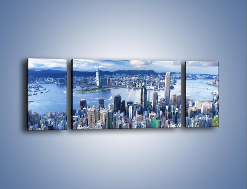 Obraz na płótnie – Miasto portowe o poranku – trzyczęściowy AM050W5