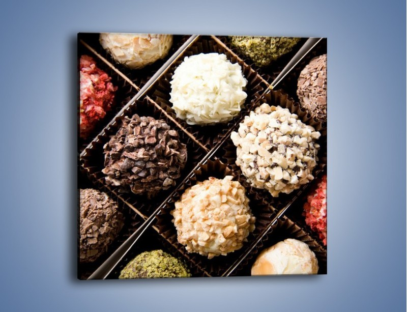 Obraz na płótnie – Kolorowy mix pralin – jednoczęściowy kwadratowy JN019
