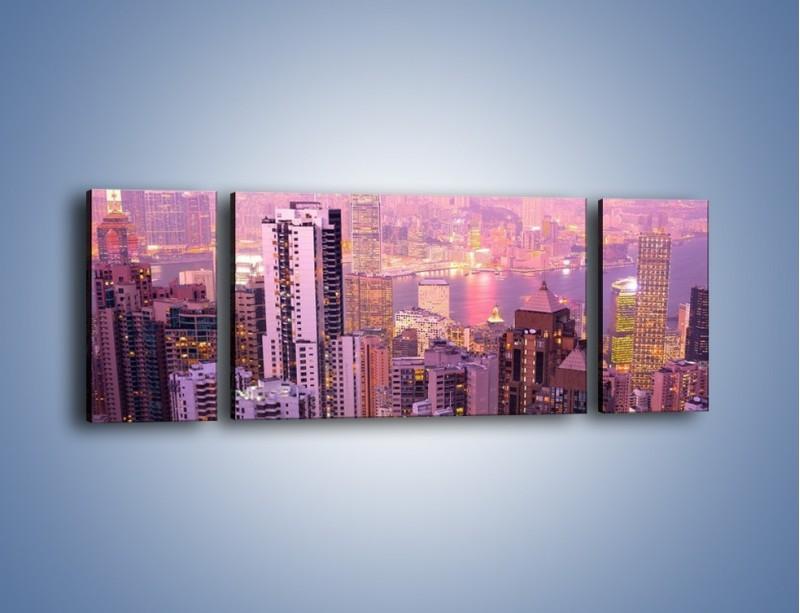 Obraz na płótnie – Duże miasto budzące się o poranku do życia – trzyczęściowy AM062W5