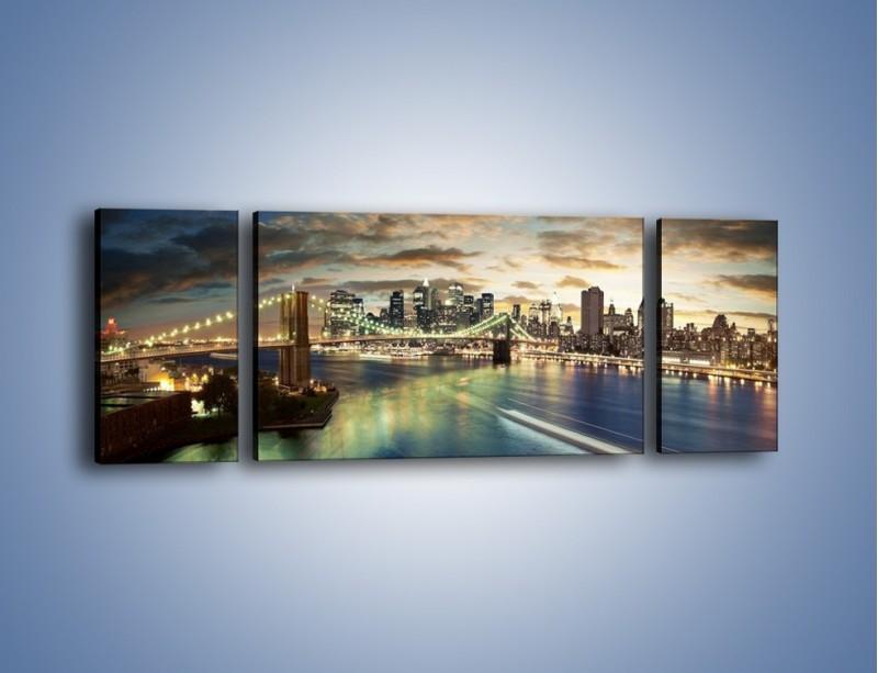 Obraz na płótnie – Oświetlony most w Nowym Jorku – trzyczęściowy AM066W5