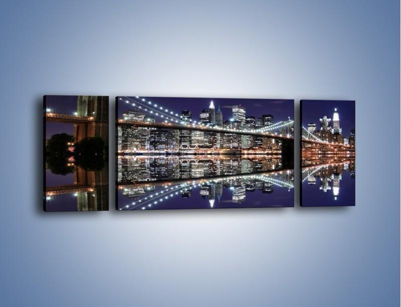Obraz na płótnie – Most Brookliński w lustrzanym odbiciu wody – trzyczęściowy AM067W5