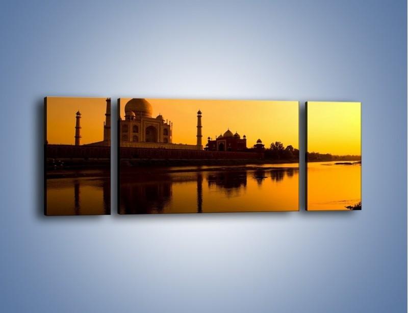 Obraz na płótnie – Taj Mahal o zachodzie słońca – trzyczęściowy AM075W5