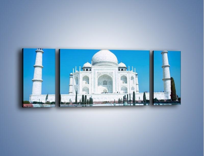 Obraz na płótnie – Taj Mahal pod błękitnym niebem – trzyczęściowy AM077W5