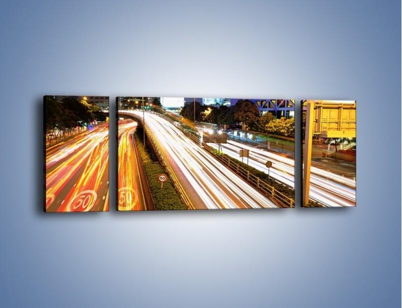 Obraz na płótnie – Ulice w ruchu w mieście – trzyczęściowy AM089W5