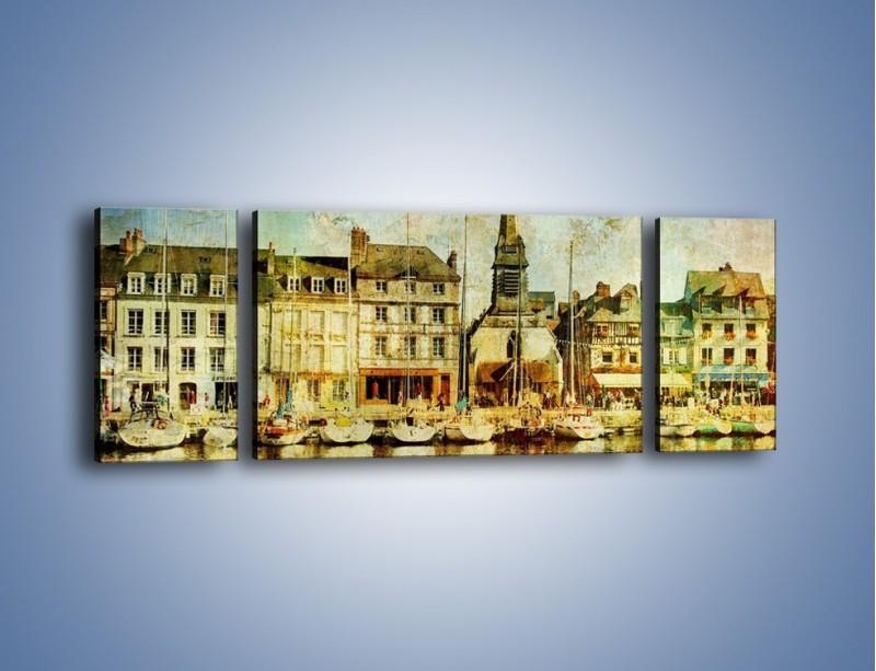 Obraz na płótnie – Łódki nad brzegiem miasteczka w stylu vintage – trzyczęściowy AM108W5