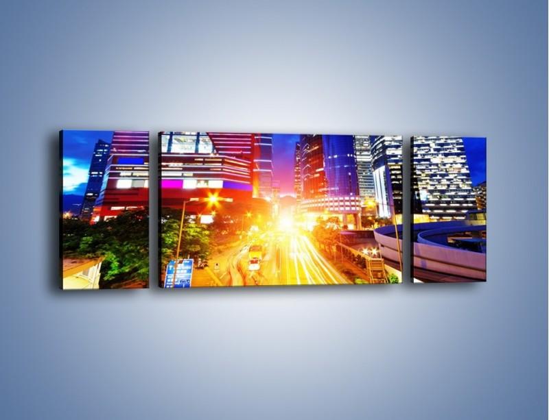 Obraz na płótnie – Miasto w żywych kolorach – trzyczęściowy AM131W5