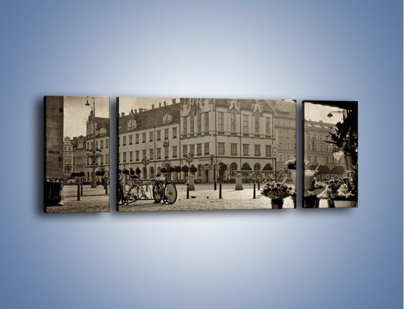 Obraz na płótnie – Rynek Starego Miasta w stylu vintage – trzyczęściowy AM138W5