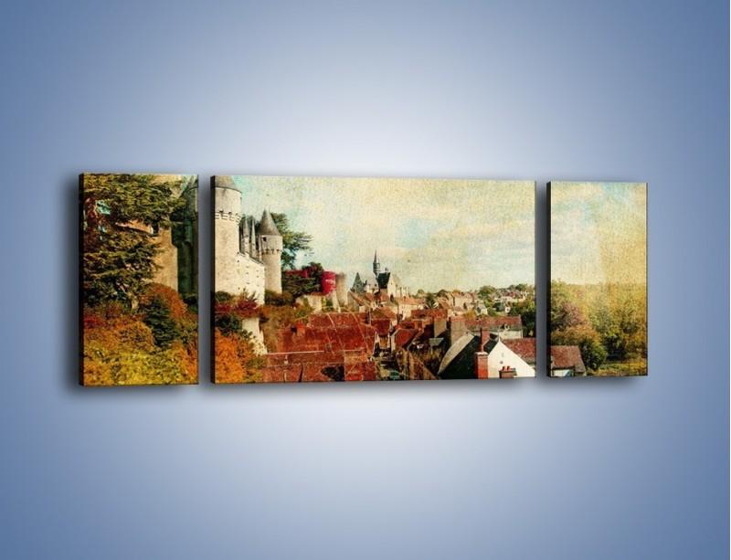 Obraz na płótnie – Zamek nad miasteczkiem w stylu vintage – trzyczęściowy AM142W5